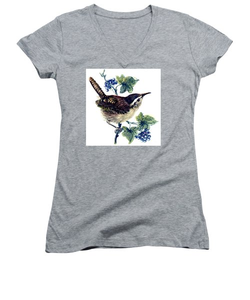 Wren In The Ivy Women's V-Neck T-Shirt (Junior Cut) by Nell Hill