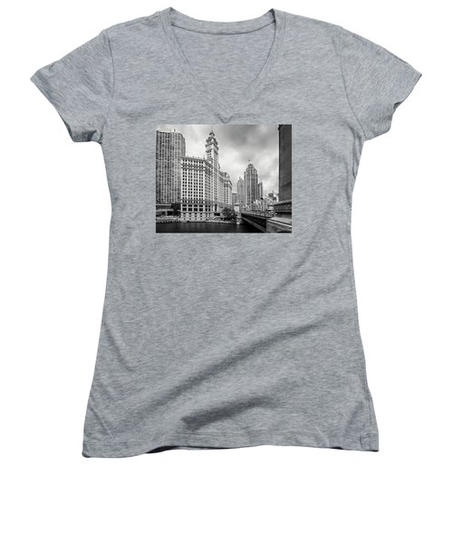 Women's V-Neck T-Shirt (Junior Cut) featuring the photograph Wrigley Building Chicago by Adam Romanowicz