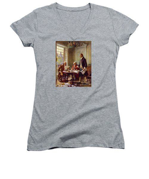 Writing The Declaration Of Independence, 1776, Women's V-Neck T-Shirt (Junior Cut) by Leon Gerome Ferris