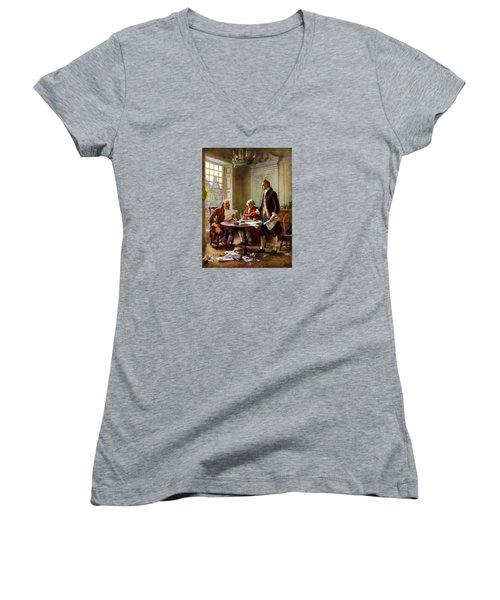 Writing The Declaration Of Independence Women's V-Neck