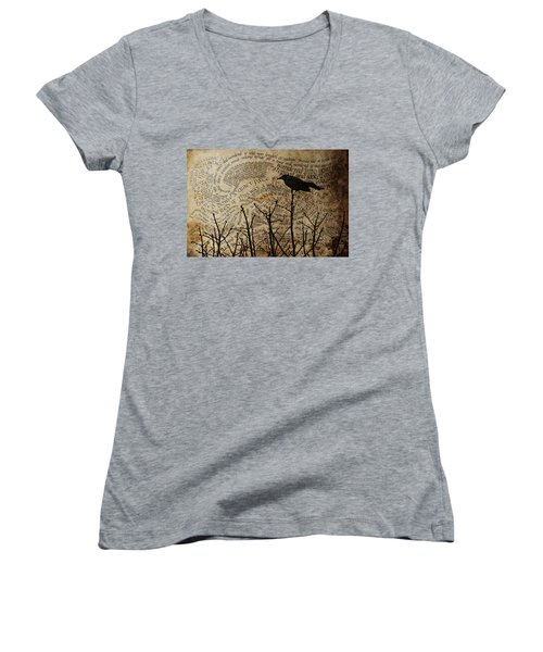 Women's V-Neck T-Shirt (Junior Cut) featuring the photograph Written On The Wind by Jan Amiss Photography