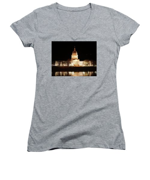 Women's V-Neck T-Shirt (Junior Cut) featuring the photograph Wv Capital Building by B Wayne Mullins