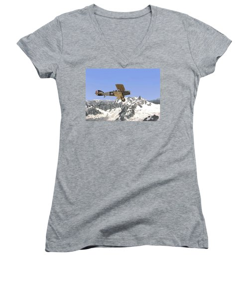 Women's V-Neck T-Shirt (Junior Cut) featuring the photograph Ww1 - Bristol Fighter by Pat Speirs