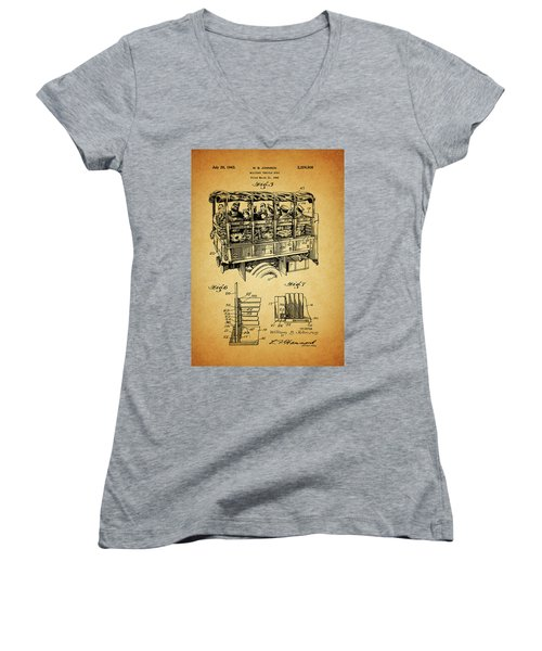 Ww2 Military Transport Vehicle Women's V-Neck T-Shirt (Junior Cut) by Dan Sproul