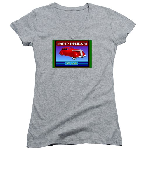 Women's V-Neck T-Shirt (Junior Cut) featuring the digital art Wyandotte Lasalle Happy Holidays by Stuart Swartz