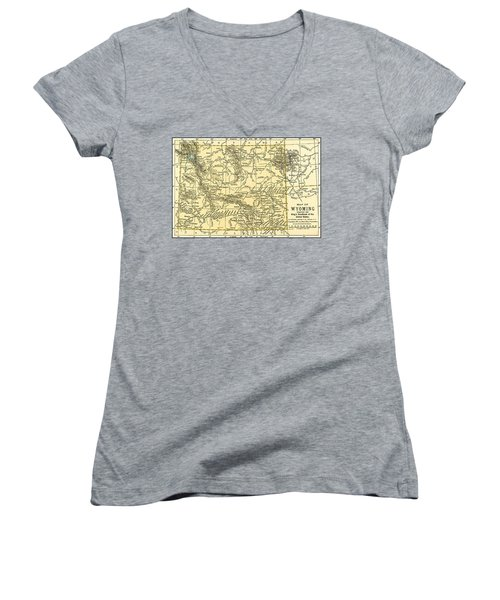 Wyoming Antique Map 1891 Women's V-Neck (Athletic Fit)
