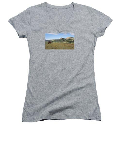Wyoming Bluffs Women's V-Neck T-Shirt (Junior Cut) by Diane Bohna
