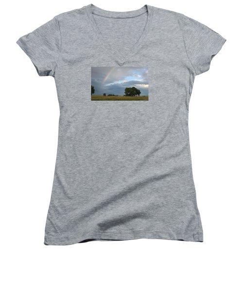 Wyoming Rainbow Women's V-Neck T-Shirt (Junior Cut) by Diane Bohna