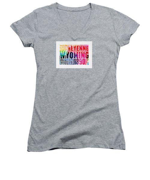 Wyoming Watercolor Word Cloud Map Women's V-Neck (Athletic Fit)