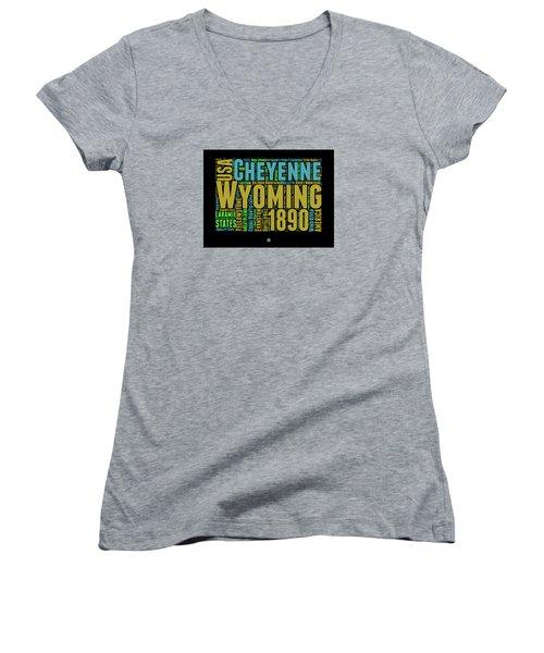 Wyoming Word Cloud Map 1 Women's V-Neck T-Shirt (Junior Cut) by Naxart Studio