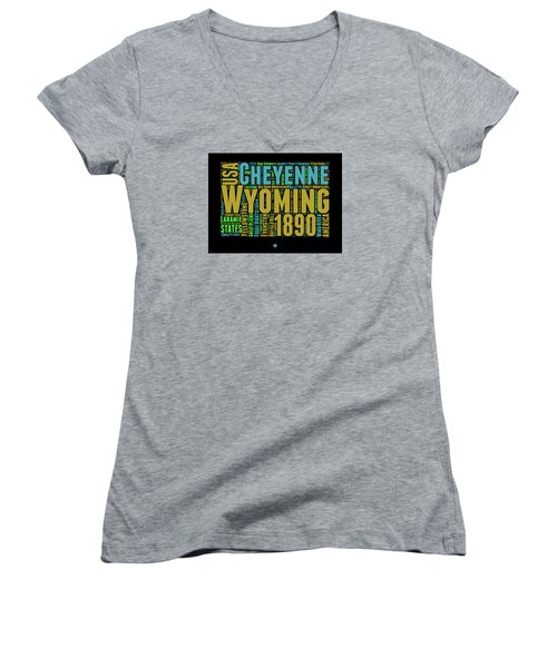 Wyoming Word Cloud Map 1 Women's V-Neck (Athletic Fit)