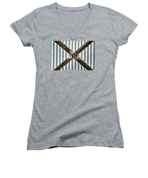 Women's V-Neck T-Shirt (Junior Cut) featuring the photograph X Marks The Spot by Karol Livote