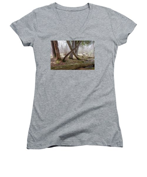 X Marks The Spot Women's V-Neck T-Shirt (Junior Cut) by Sandra Updyke
