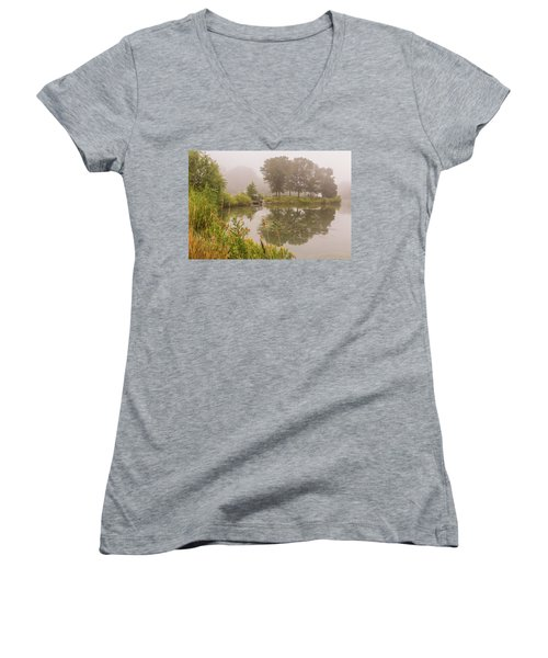 Misty Pond Bridge Reflection #5 Women's V-Neck (Athletic Fit)