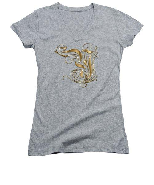 Y Ornamental Letter Gold Typography Women's V-Neck T-Shirt (Junior Cut) by Georgeta Blanaru