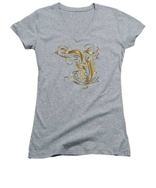 Y Ornamental Letter Gold Typography Women's V-Neck T-Shirt