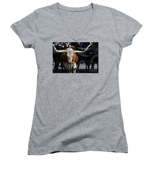 Women's V-Neck T-Shirt (Junior Cut) featuring the photograph Ya'all Be Careful Now..... by Debby Pueschel