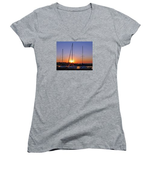 Women's V-Neck T-Shirt (Junior Cut) featuring the photograph Yacht Club Sunrise by Judy Vincent