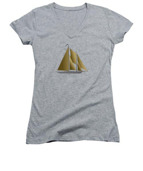 Yacht In Sunlight Women's V-Neck