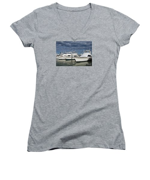 Yachts At The Dock Women's V-Neck