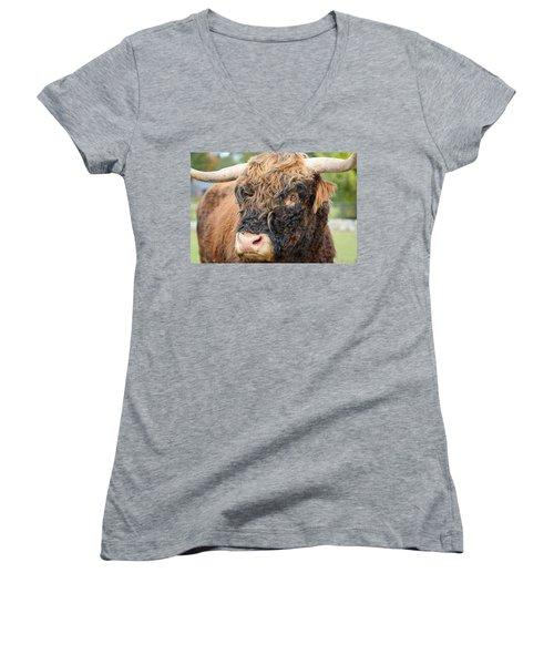 Yakity Yak Women's V-Neck T-Shirt (Junior Cut) by Karol Livote