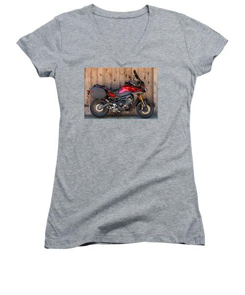 Women's V-Neck T-Shirt (Junior Cut) featuring the photograph Yamaha Fj-09 .2 by E Faithe Lester