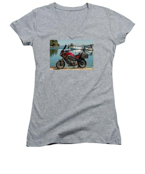Women's V-Neck T-Shirt (Junior Cut) featuring the photograph Yamaha Fj-09 .3 by E Faithe Lester