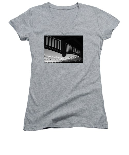 Yankee Stadium Facade - B And W Women's V-Neck