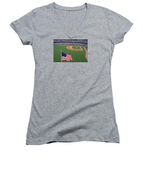 Yankee Stadium Flag Women's V-Neck T-Shirt