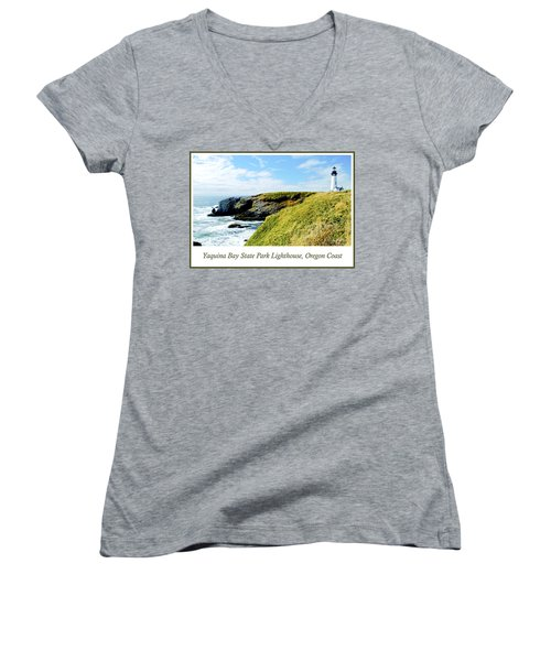 Women's V-Neck T-Shirt (Junior Cut) featuring the photograph Yaquina Bay Lighthouse Oregon by A Gurmankin