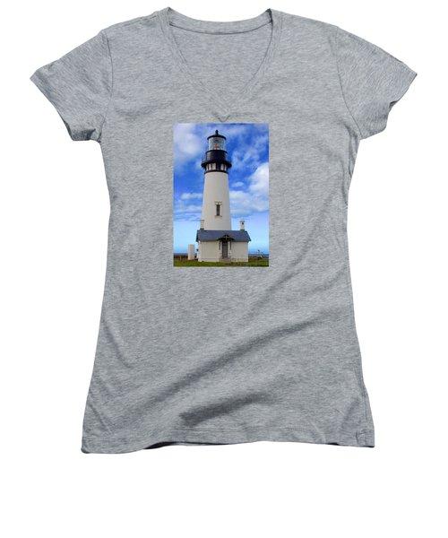 Women's V-Neck T-Shirt (Junior Cut) featuring the photograph Yaquina Head Lighthouse by Todd Kreuter