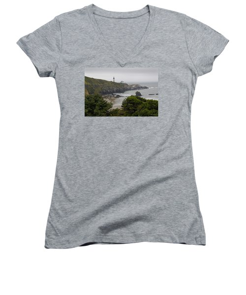 Yaquina Head Lighthouse View Women's V-Neck T-Shirt