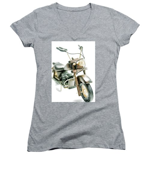 Yard Sale Wooden Toy Motorcycle Women's V-Neck T-Shirt (Junior Cut) by Wilma Birdwell