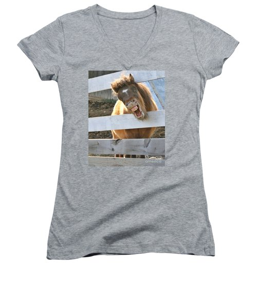 Yee Haw Women's V-Neck T-Shirt (Junior Cut) by Heather King