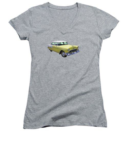 Yellow 1955 Chevrolet Bel Air Women's V-Neck (Athletic Fit)