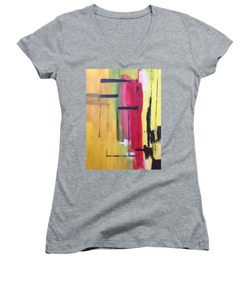 Yellow Abstract Women's V-Neck (Athletic Fit)