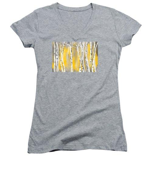 Yellow And Gray Birch Trees Women's V-Neck