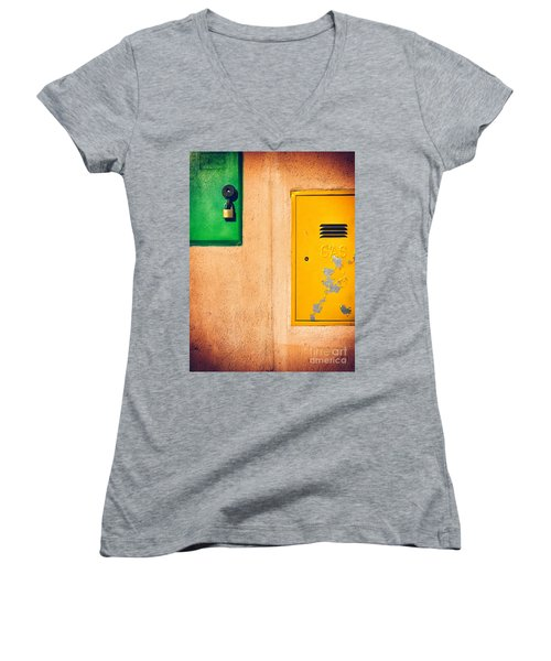 Women's V-Neck T-Shirt (Junior Cut) featuring the photograph Yellow And Green by Silvia Ganora
