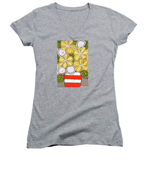 Yellow And White Flowers Women's V-Neck T-Shirt (Junior Cut)