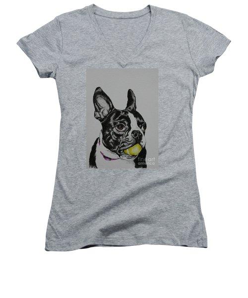 Yellow Ball  Women's V-Neck T-Shirt