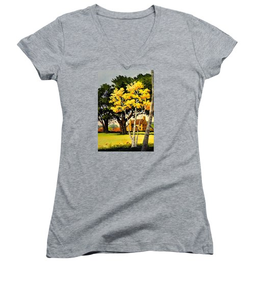 Yellow Birches Women's V-Neck (Athletic Fit)