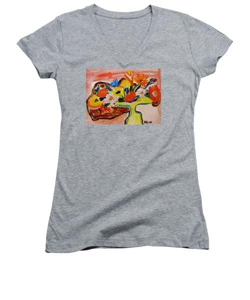 Yellow Blown Glass Vase Women's V-Neck T-Shirt