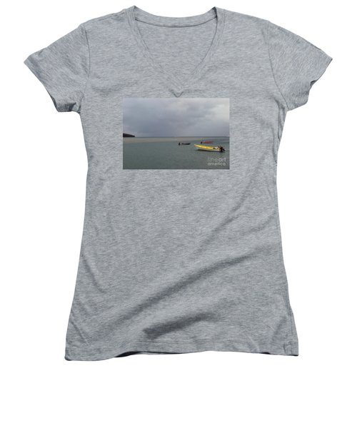 Women's V-Neck T-Shirt featuring the photograph Yellow Boat by Gary Wonning
