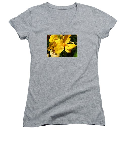 Women's V-Neck T-Shirt (Junior Cut) featuring the photograph Yellow Canna Lily by Shawna Rowe