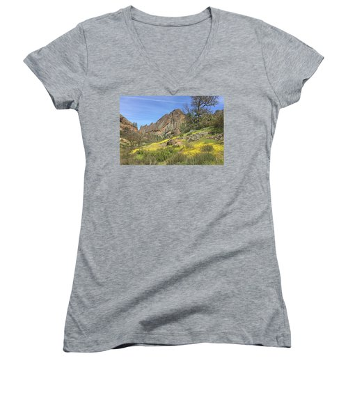 Women's V-Neck T-Shirt (Junior Cut) featuring the photograph Yellow Carpet by Art Block Collections