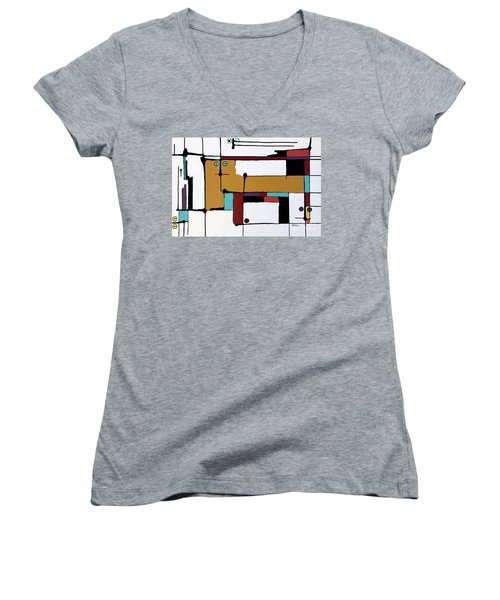 Yellow Cat And Four Kittens Women's V-Neck T-Shirt