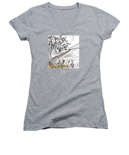 Yellow Cats Women's V-Neck T-Shirt (Junior Cut) by Lou Belcher