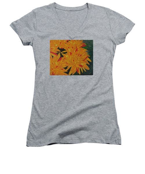 Yellow Chrysanthemums Women's V-Neck (Athletic Fit)