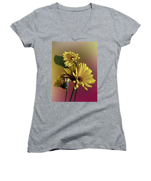 Women's V-Neck T-Shirt (Junior Cut) featuring the photograph Yellow Daisy Trio by Judy  Johnson