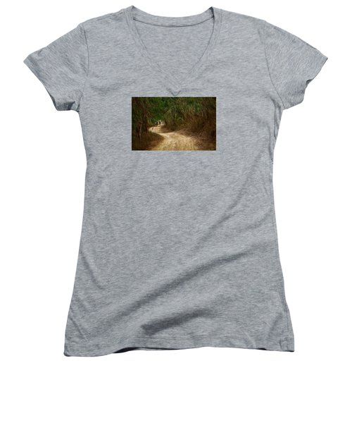 Women's V-Neck T-Shirt (Junior Cut) featuring the photograph Yellow Dust Road by Cameron Wood